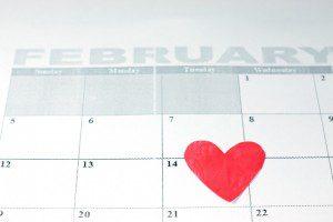 Tarjeta del día de San Valentín calendario.