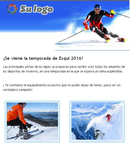 plantilla de email marketing para articulos de deportes de invierno