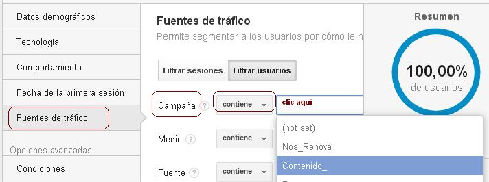 segmento personalizado de email marketing google analytics