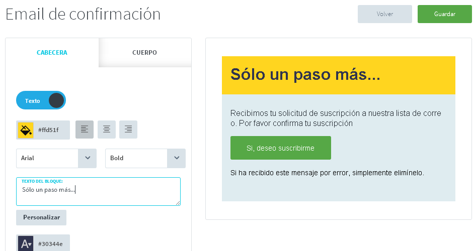 doble opt-in personalizar confirmacion de email marketing
