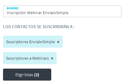email marketing formularios de suscripción a multiples listas