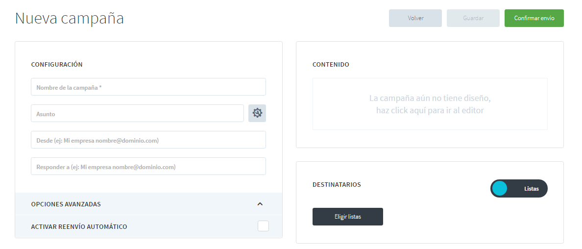 interfaz de creación de campaña de email marketing de envialosimple