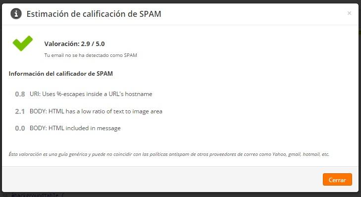 estimacion de calificacion de spam