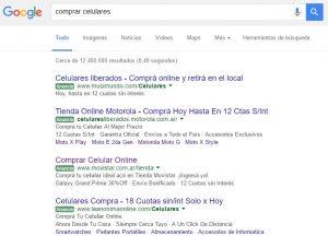 Ejemplos de anuncios eta en parte superior del buscador