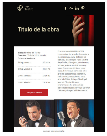 template email marketing espectaculos