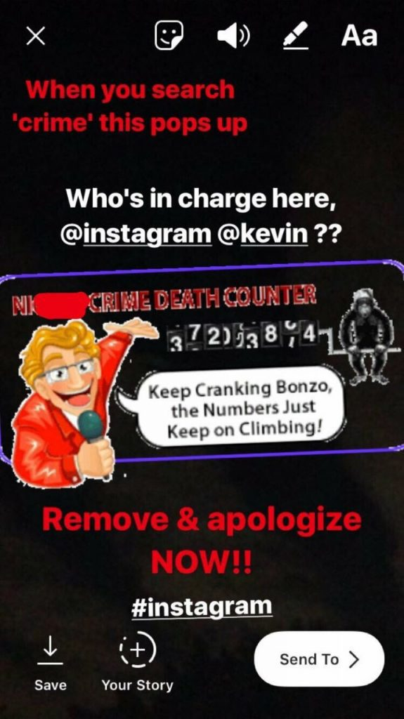 gif con contenido racista y apologia de asesinato prohibido en instagram