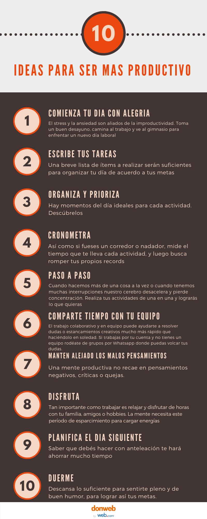 infografia, 10 ideas para ser mas productivos