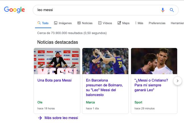 resultados de busquedas de messi en Google