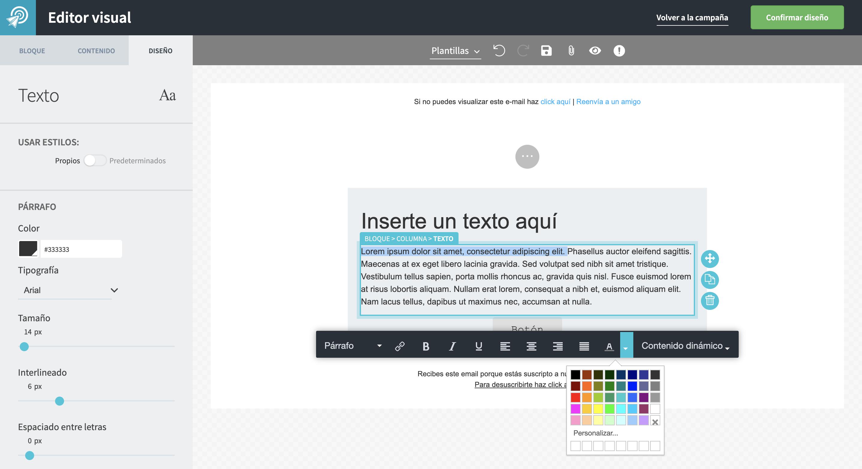 Selecciona el texto que decidas colorear