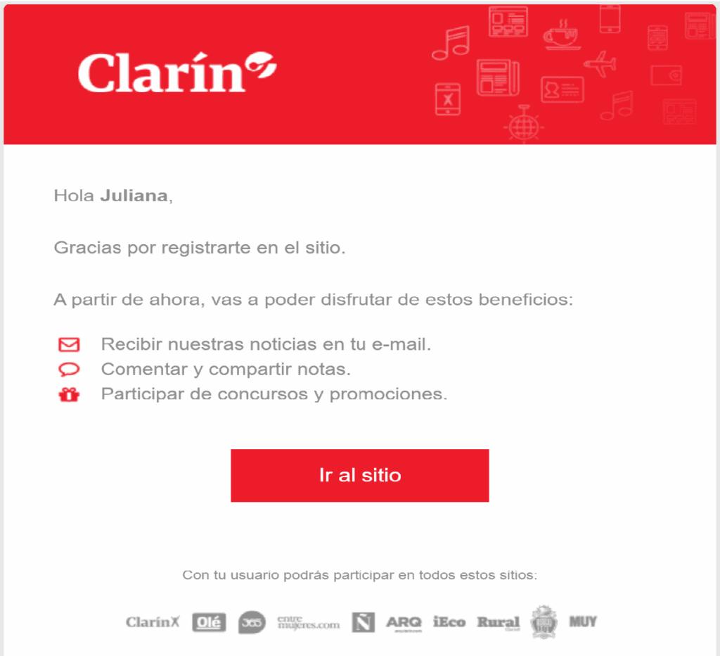 Ejemplo de newsletter de Clarín