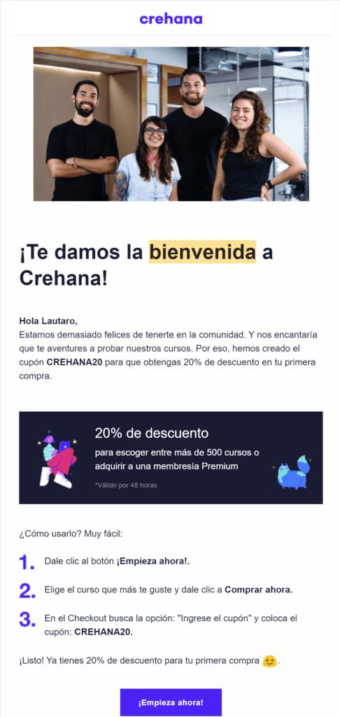 Ejemplo de newsletter de Crehana
