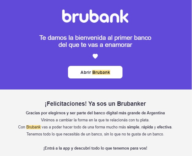 Ejemplo de newsletter de Brubank